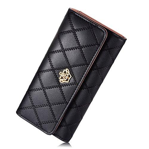 NICHOLY Damen Elegant Stilvoll Portemonnaie Geldbörse Krone PU-Leder Geldbeutel (Schwarz)