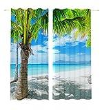 Lemare Vorhang Blickdicht Digitaldruck Palme am Strand 2X 145x260 cm