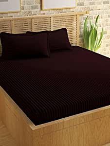 Story@Home 300 TC 100% Cotton Sateen Double King Size Bedsheet with 2 Pillow Covers Plain Premium Platinum Superior Elegant Solid Stripes Marron