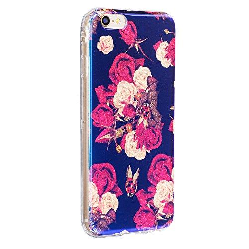 per iPhone SE/ 5S/ 5 Custodia case,Herzzer Mode Crystal Creativo Elegante lusso di Blu Glitter Bling stampato Quadro Dipinto Design shell,Ultra slim sottile morbido TPU Silicone Gel flessibile Protett Bianca Rosa
