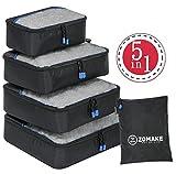 Set di 4 Cubi Di Imballaggio per i bagagli ,elementi di borsa d'immagazzinamento di viaggiare(nero)