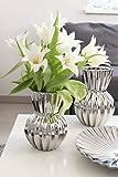 Vase Silver Wave Keramik shiny silber H 20 cm, Blumen, Tischdeko, Aufbewahrung