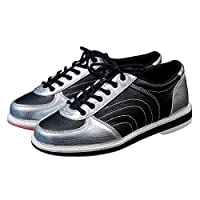 Bowls Shoes, Casual Breathable Walking Shoe Non-Slip Lightweight Bowling Trainers Running Gym Sport Sneakers for Women Men,Silver,44