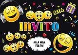 Edition Colibri 10 inviti per Festa di Compleanno; Motivo: Smiley in Discoteca / inviti di Compleanno per Bambini / in Italiano (11016 IT)