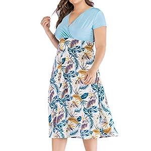 erthome Damenmode Milch Seide V-Ausschnitt Einfarbig Blattdruck Hohe Taille Große Ornamente Chiffon-Kleid