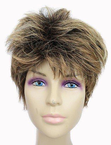 capless haut grade synthétique café court droite perruque de cheveux synthétiques