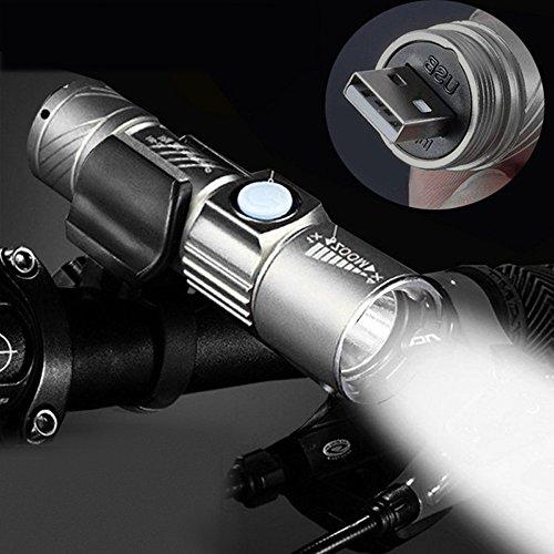 99native Einstellbare LED Zoom 3000LM Mini USB wiederaufladbare Taschenlampe tragbare,Geeignet zum Wandern/Camping/Angeln (Grau)