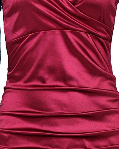 Femme 3 / 4 de Manche Vintage Decontracte Robe Rouge