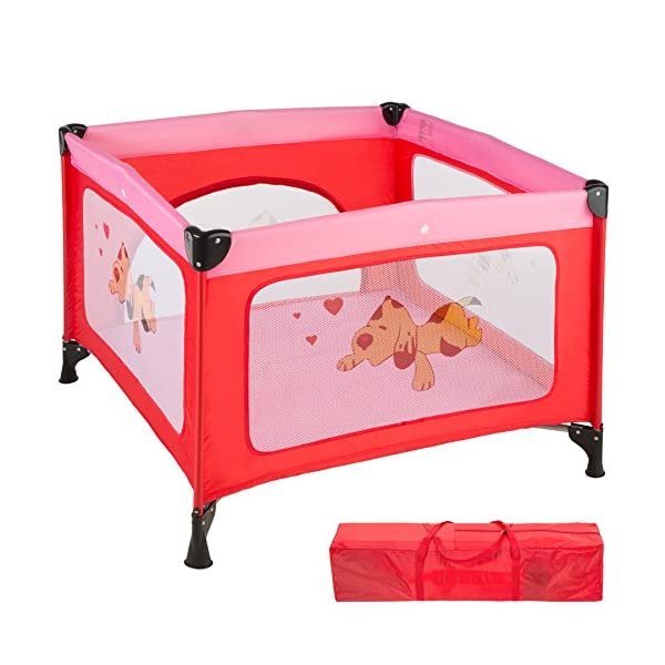 TecTake Portable Child Baby Infant Playpen Travel Cot Bed Crawl Play Area new - different colours - (Pink | No. 402206)  Only the best for my baby: Our high-quality manufactured baby playpen is excellently suited to play, crawl around and to sleep. // Total dimensions: (LxWxH): 105 x 105 x 78 cm. As it is especially space-savingly collapsible, you won't only use it at home but also when travelling. // Dimensions collapsed (LxWxH): approx. 94 x 20 x 20 cm. The side elements are furnished with breathable mesh-textures, so that you can always keep an eye on your little darling. In addition, the playpen has a padded sleep mat and thus serves as a small travel cot. 1