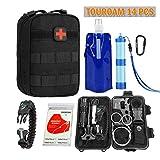 TOUROAM Notfall-Überlebenskit   Tactical Admin Pouch, Wasserfilterstroh, Faltbarer Wasserbeutel, Mylar-Decke, 5-in-1-Armband, SOS-Multitools, Feuerstarter