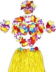 Leisial 6pcs Mujer Falda de Hierba con Flores Hawaiana Vestido de Cintura Accesorios para Festivales de Danza (Espesar)