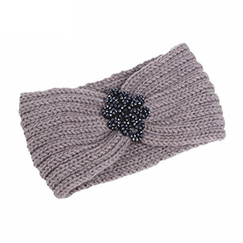 Muium Frauen stricken Stirnband handgemacht halten Sie warmes Haarband (Grau) - 2