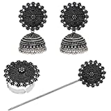 V L IMPEX Metal Oxidised Silver Plated Jhumki Earrings with Hair Stick for Bun and Ring for Women (Black)