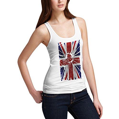 Shattered Débardeur sans manches femme Motif Union Jack UK Flag Débardeur de distorsion Blanc - Blanc