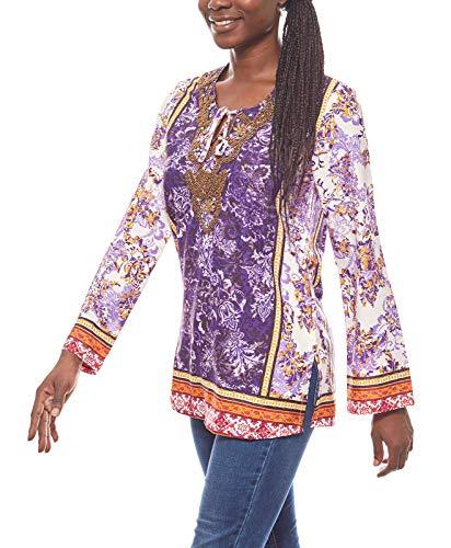 Melrose Bluse Damen Chiffon-Tunika mit Ziersteinen Kelchausschnitt elegant Violett, Größenauswahl:32
