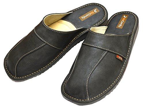 BeComfy Herren Hausschuhe Leder Pantoffeln Geschenkkarton (Wahlweise) Modell FM81 Grau-Box