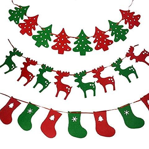 Wimpelkette/ Girlande, verschiedene weihnachtliche Design, Filz, Partydekoration, 3