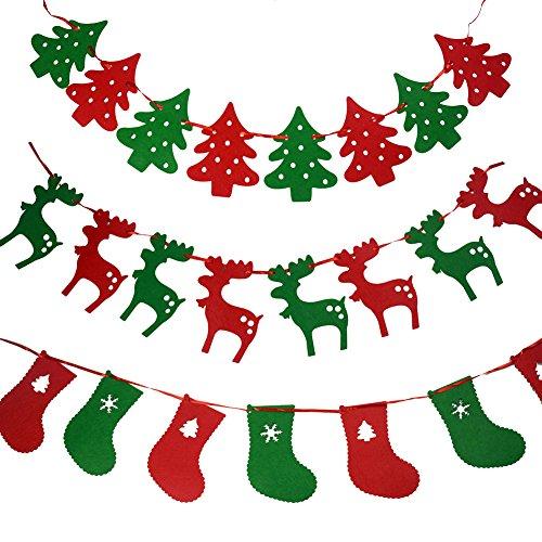Gardeningwill 3 différentes de Noël en Tissu Feutre Guirlande à Suspendre Buntings Cordes bannière Drapeau Party Decor