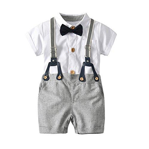 Jungekleidung Set, Sonnena Baby Kleikind Junge Kurzarm Gentleman Krawatte Shirt Hemd Tops + Bib Pants Hosen Outfit Set Sommer Tägliche Baumwolle Babykleidung Babyanzug für 1-3 Jahre (1 Jahre, Weiß)