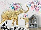 Mbwlkj Gold 3D Tapete Hand Gemalte Elefant Foto Wandbild Tv Hintergrund Studie Küche Schlafzimmer Wohnzimmer Wandbilder-300Cmx210Cm