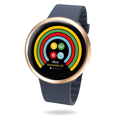 MyKronoz ZeRound2 Smartwatch with Color Touchscreen/Built-in MicrophOne/Speaker - Pink Gold/Blue