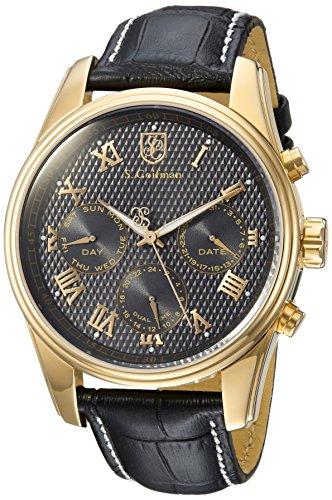S. Coifman Men's 'Heritage' Quartz Gold-Tone and Leather Casual Watch, Color:Black (Model: SC0399)