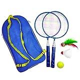 Badmintonschläger 1 Satz Outdoor-Spiele Mit Federball Kindersport Badminton Tennis Set Pädagogisches Kind Outdoor-Sport Mit Rucksack(Blau)