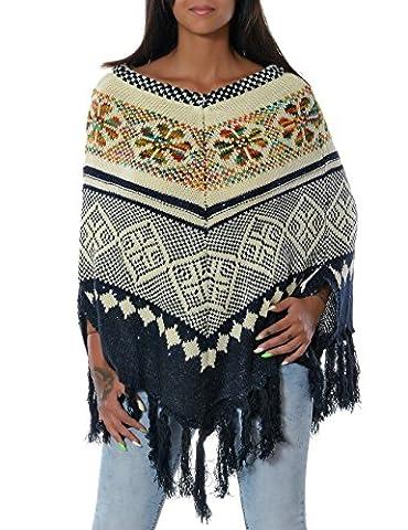 Damen Poncho mit Fransen No 14140, Farbe:Mehrfarbig;Größe:One Size