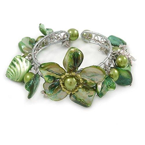 Avalaya - Brazalete de Perlas de imitación Floral en Tono Plateado – Ajustable