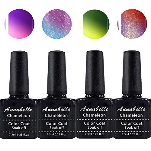Annabelle Thermo Nagellack UV Nagellack Soak Off UV Gel Nagellack Nail Art Top Coat Base Coat 7.3ml (7.3ml/pc Lot de 4) 058