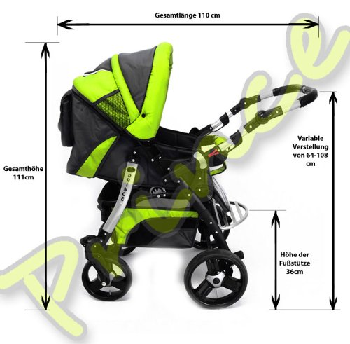 Best For Kids Prince Pram/Stroller different colors  Huge children's car set from Best For Kids. This package leaves nothing to be desired and will accompany you and your child from infancy. Included are a baby tub attachment and a sports seat (buggy). The individual attachments can be changed in seconds. The ingenious design is easy to use. Because of the low weight and size you can stow this stroller very easily in the car. Security has priority! With this combi-van you are always on the safe side. The Best For Kids stroller fulfills the European safety standard EN1888. This specifies safety requirements with regard to materials, construction and stability. Great colors - modern construction. This Best For Kids stroller is not only extremely versatile, it is also an absolute eye-catcher. The modern color scheme in combination with the large tires (to choose from 3 sets of wheels, also air bikes for 25 EUR surcharge) on the chrome rims provides a beautiful look. 5
