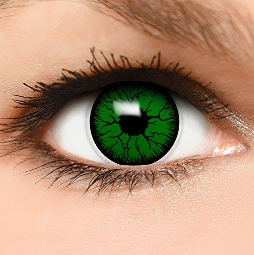Farbige Kontaktlinsen Monster in grün schwarz + Kombilösung + Behälter - Top Linsenfinder Markenqualität, 1Paar (2 Stück)