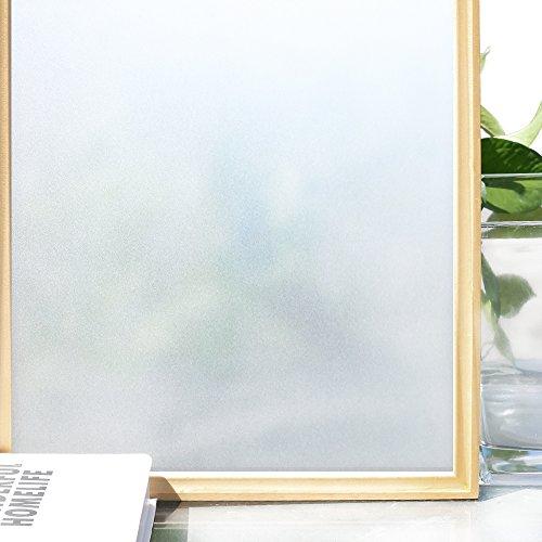 Homein Fensterfolie Milchglasfolie Sichtschutz Folie Fenster Selbstklebend Klebefolie Blickdicht Sichtschutzfolie Milchglas Fensteraufkleber Statisch Haftend Window Film für Bad Duschkabine Badfenster Matt 90 x 200 cm