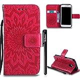 Galaxy S5 Mini Tasche,BtDuck Retro Blume Muster Ultra Dünn Tasche Leder Brieftasche mit Magnetverschluss Kartenfach und Stand Funktion Weich Silikon Back Cover Schutzhülle Samsung Galaxy S5 Mini Rot