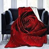 Coperta in Pile con Gocce di Pioggia di Rose Rosse Coperta Leggera Coperta Calda per Un Letto Super Morbido e Accogliente