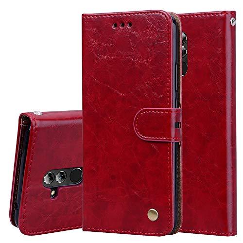 Wendapai Huawei Mate 20 Lite Brieftasche Leder Hülle mit Schutz dauerhaft PU Leather Hülle Bag mit Kartenschlitzs,Cash Pocket,Red