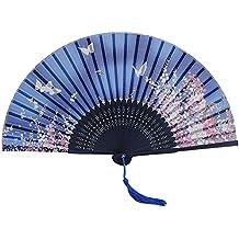 Abanico de mano - TOOGOO(R)de punta de bambu plegable oscuro de mariposa azul y de flor rosadas oscuras