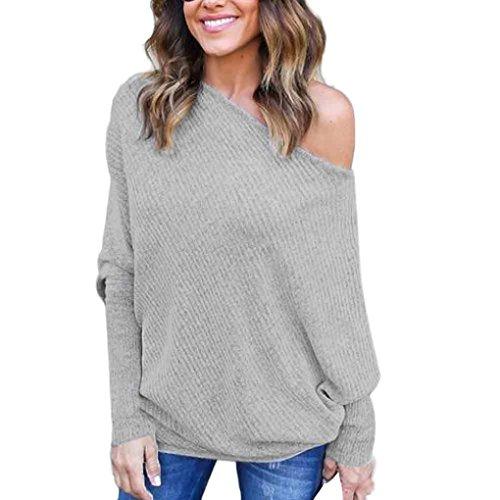 OVERDOSE Damen Schlägerhülse T-Shirt-Bluse beiläufige Lose Baumwollträgerlose Oberseiten Bluse Hemd (S, Grau)
