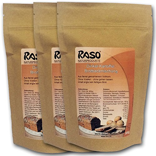 Brot mit Kurkuma - VERSANDKOSTENFREI - bewährte RASO Rezeptur Brotbackmischung Dinkel - Kartoffel - Ohne Kneten, ohne gehen lassen (3 x 500g) - Einfach und schnell zubereitetes gesundes Brot