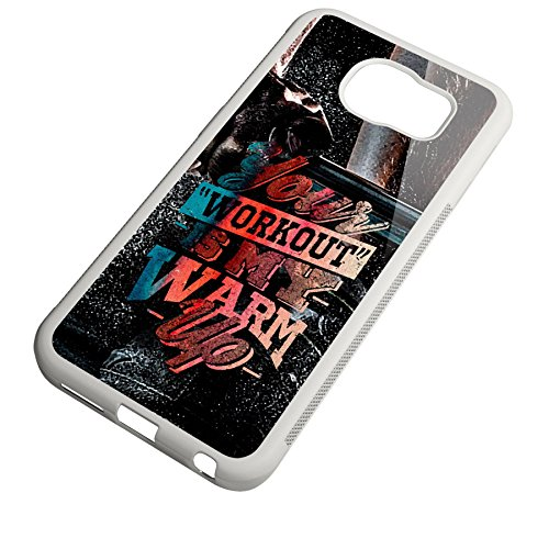Smartcover Case Your Workout is my Warmup v2 z.B. für Iphone 5 / 5S, Iphone 6 / 6S, Samsung S6 und S6 EDGE mit griffigem Gummirand und coolem Print, Smartphone Hülle:Iphone 5 / 5S schwarz Samsung S6 EDGE weiss