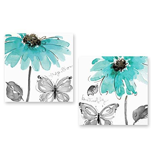 Genius Decor 2Stück Blumen und Schmetterling in Blaugrün und Grau Modern Leinwand Wand Art Decor 12x12inchx2pieces - Teal Grau-wand-kunst