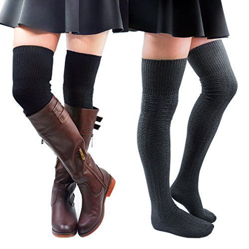 Kayhoma 2 Pairs Thigh High Socks Over the Knee High Boot Socks Cotton Leg Warmers