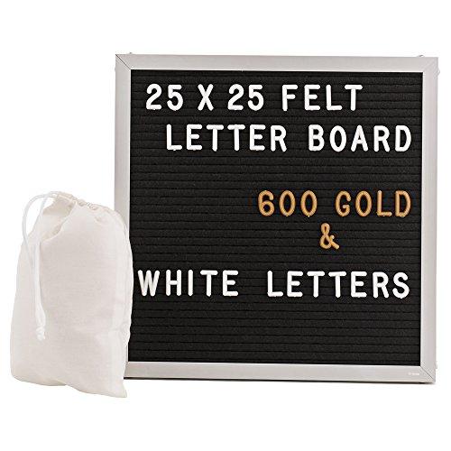 Mit Buchstaben Menü-board (Gadgy ® Letter Board Aluminium und Filz 25x25 cm | Buchstaben Tafel Buchstabenbrett Rillentafel | Mit 600 Weiße und Goldfarbige Buchstaben & Zahlen, Ständer und Beutel | Retro Felt)