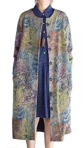 P Ammy Fashion Women's Woolen Aztec Patterned Long Trench Coat