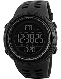 Forrader Men's Sport Watch Outdoor 50M étanche Big Face Digital Blacklight Écran Multifonctionnel Mode LED Sport Montres de poignet