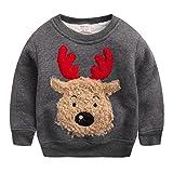 Happy Cherry - Sweat-shirt/ Sweater/ Hoodie Imprimé Wapiti Bébé enfant Unisexe Pour Noël- Col ras du cou - 4-5 ans Starture 110 cm- Gris