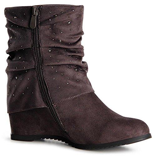 topschuhe24 1062 Damen Keilabsatz Stiefeletten Boots Booties Grau