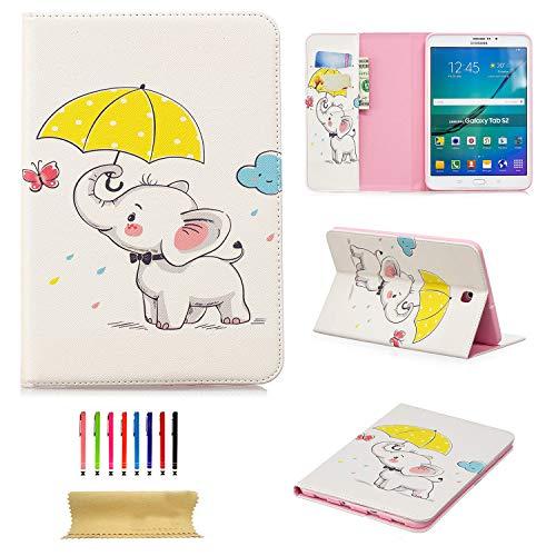Schutzhülle für Galaxy Tab S2 8.0 Zoll / 20,32 cm (SM-T715/T710/T713) mit Standfunktion, PU-Leder, TPU, stoßfest, mit Kartenfächern weiß 02 Butterfly Elephant
