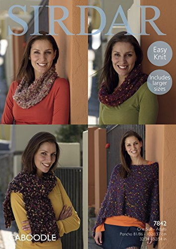 sirdar-wool-mesdames-poncho-snood-charpe-caboodle-tricoter-7842chunky