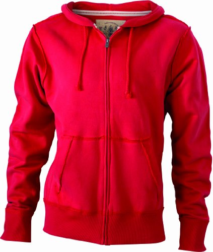 JAMES & NICHOLSON Kapuzenjacke Men's Vintage Hooded Sweatshirt - Blouson À Capuche - Homme Rouge (red)